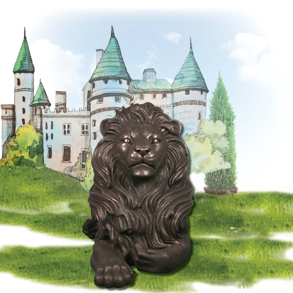 Bronze Lion Resting sculpture - Majestic Castle - Larger than life-size