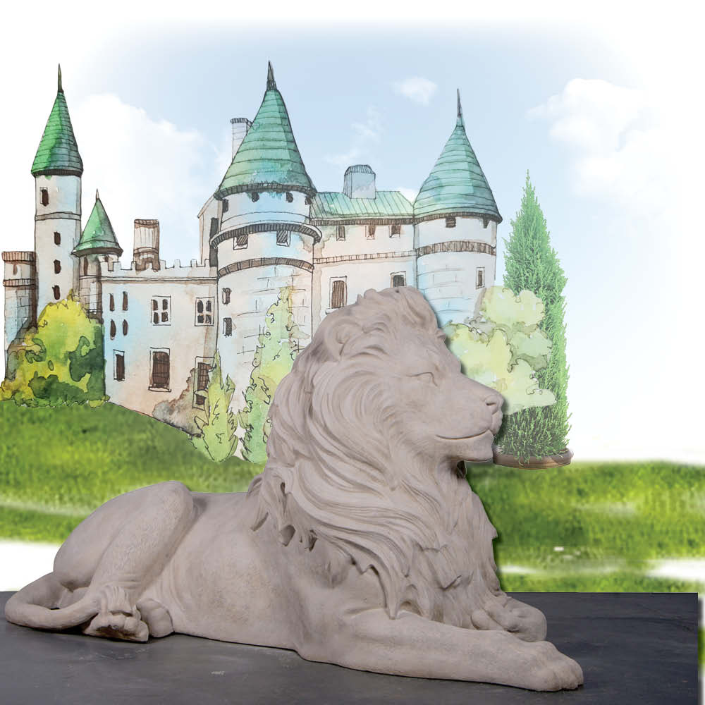Lion Resting sculpture - Majestic Castle - Larger than life-size