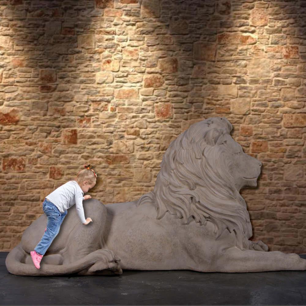 Lion Resting sculpture - Majestic Castle - Larger than life-size