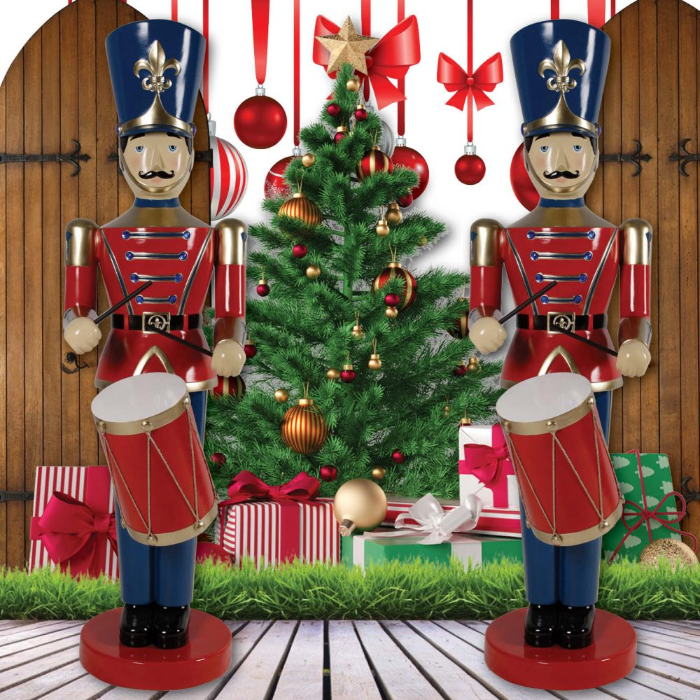 Toy Soldier with Drum - 6ft - Blue & Red - Christmas Prop