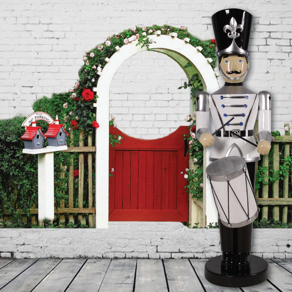 Toy Soldier with Drum - 6ft - Silver & Black Version