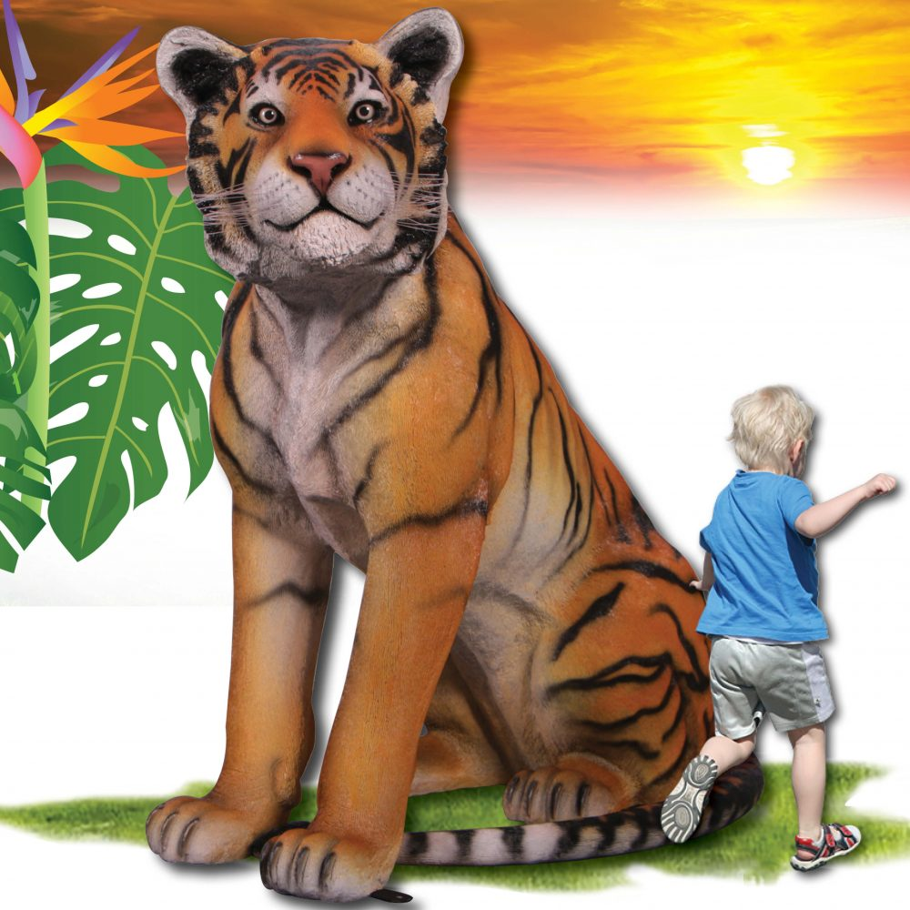Bengal Tiger - Sitting statue - life-size