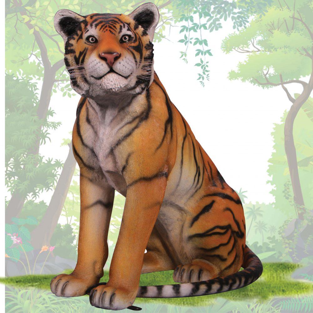 Bengal Tiger - Sitting statue - life-size