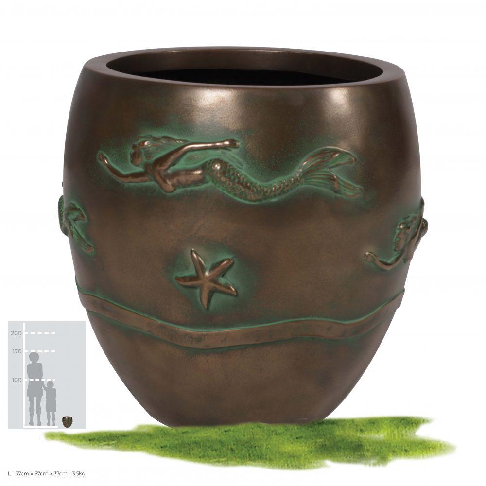 Mermaid Planter - Greenish Bronze finish