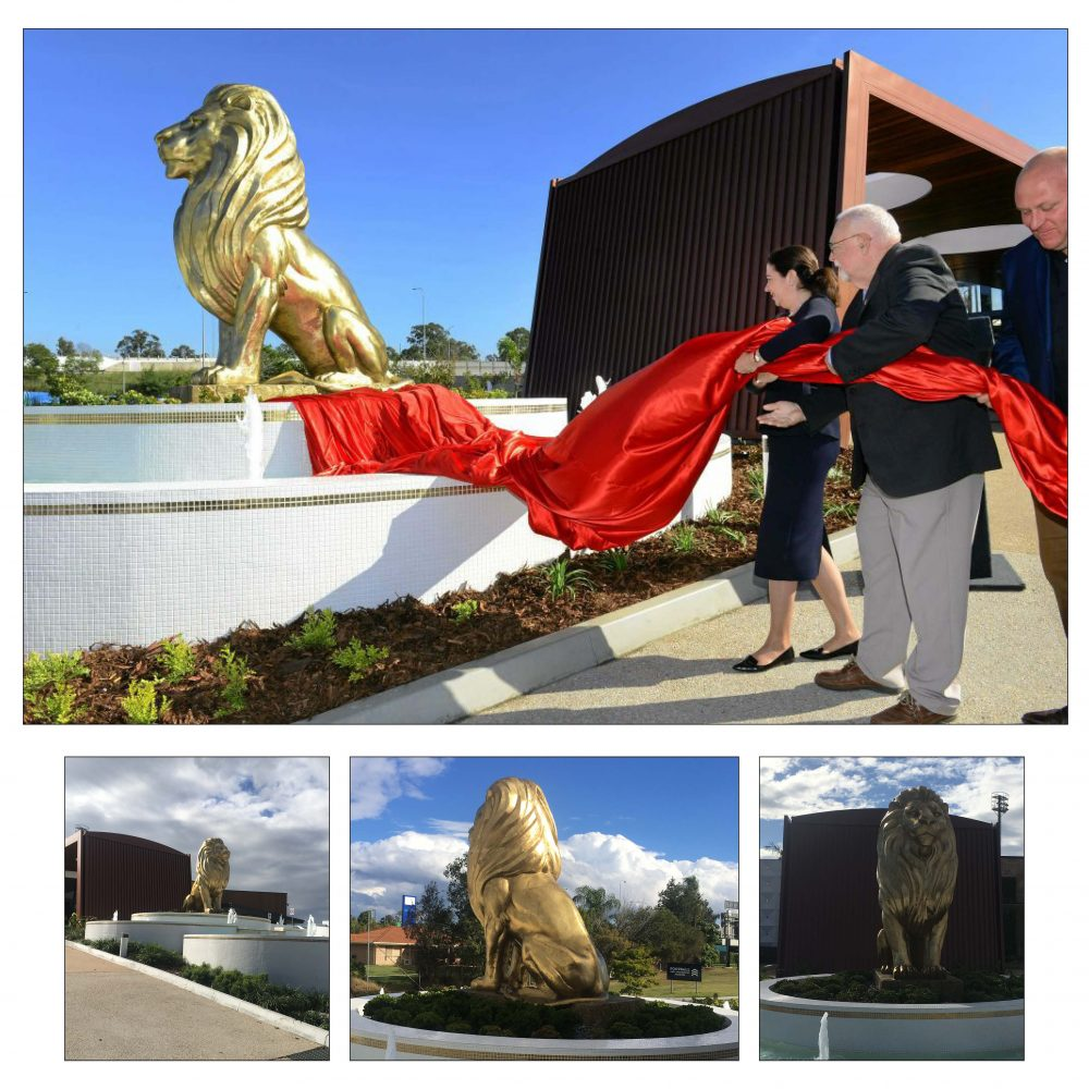 A Spectacular custom-designed Giant polished Bronze lion statue.