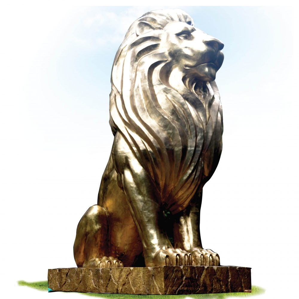 A Spectacular custom-designed Giant polished Bronze lion statue.