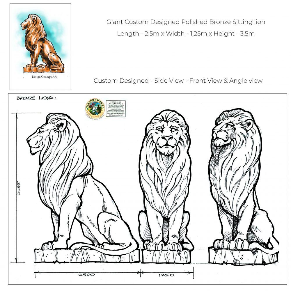 Custom designed Giant hot cast bronze lion sculpture- Concept Art