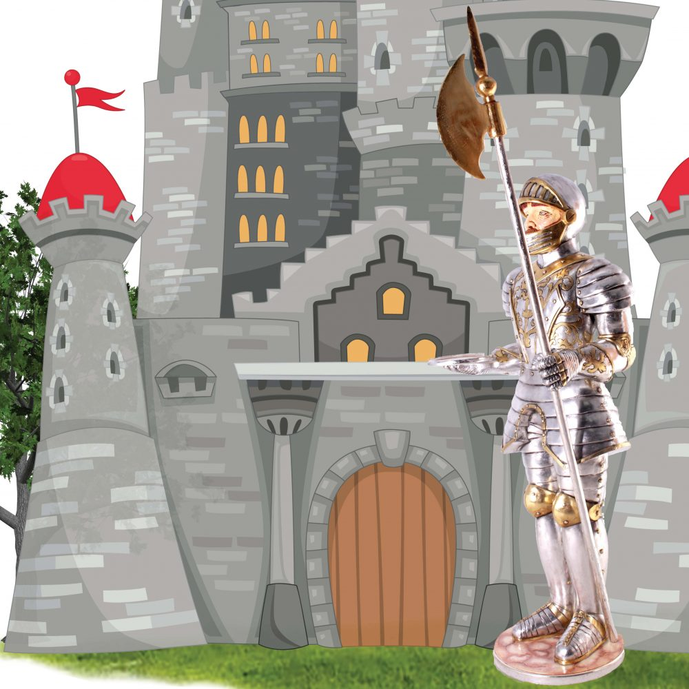 • Medieval knight 3-dimensional life-size themed statue for sale