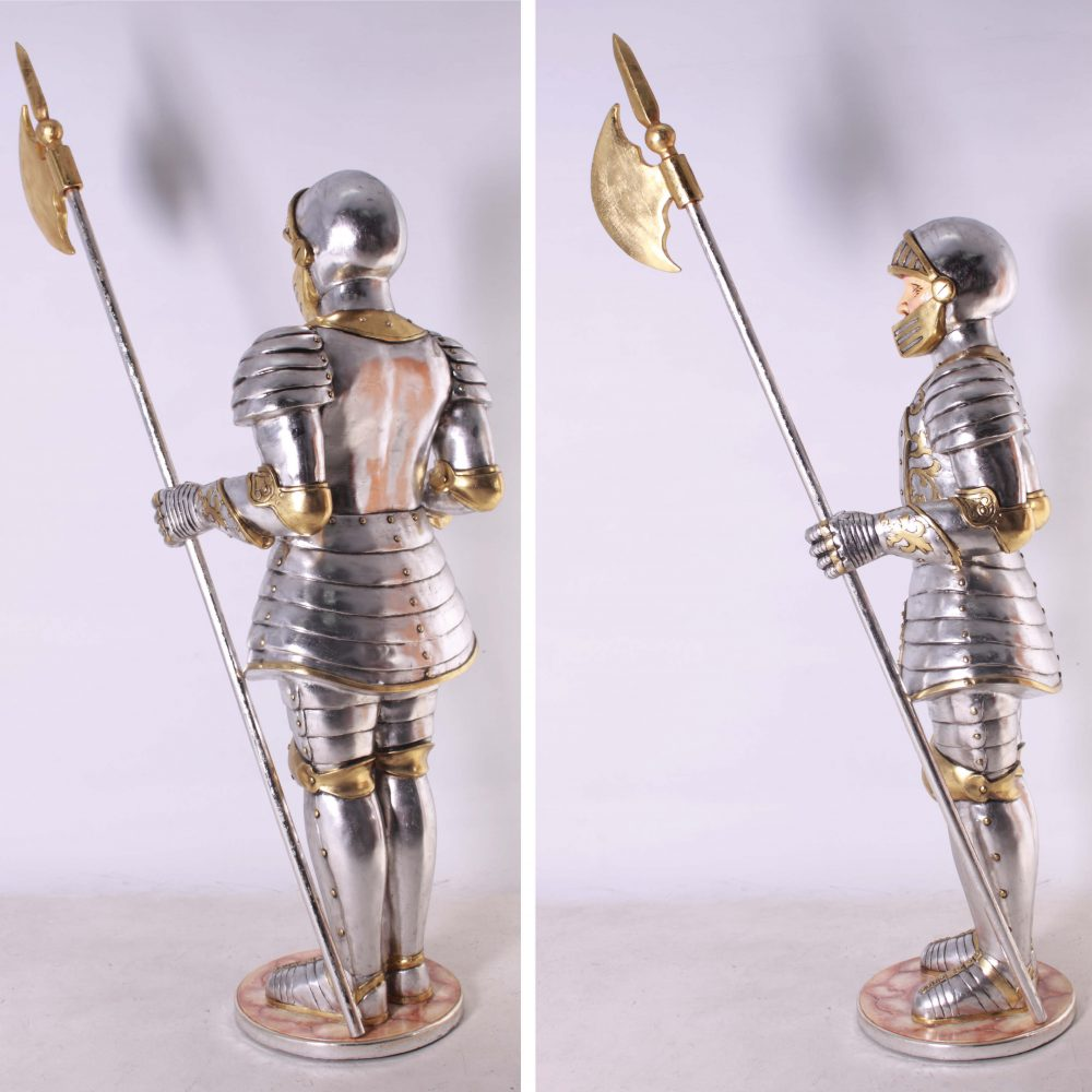 Knight statue - Medieval themed knight 6ft tall statue with halberd weapon
