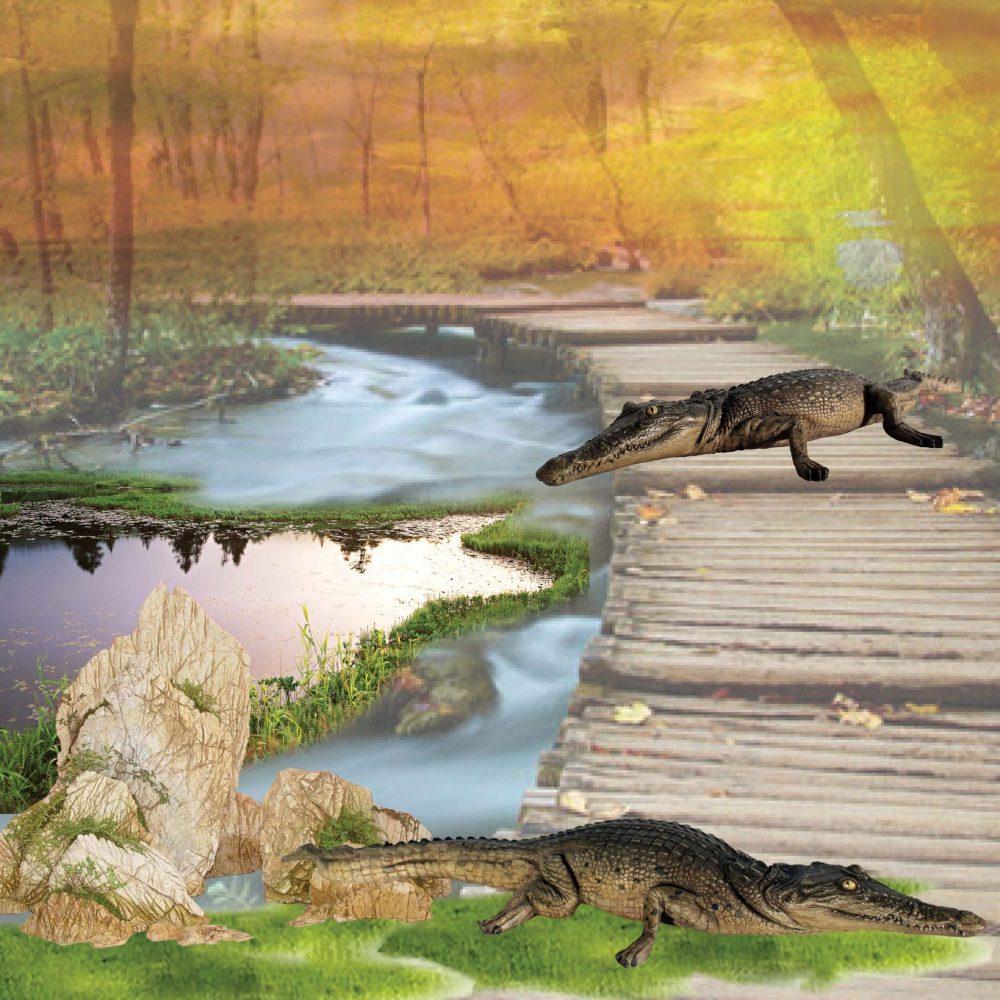 Crocodile 4ft resting - side view in creek