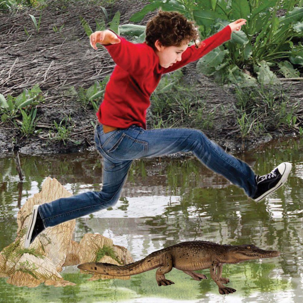 Crocodile 4ft walking - boy jumping over croc