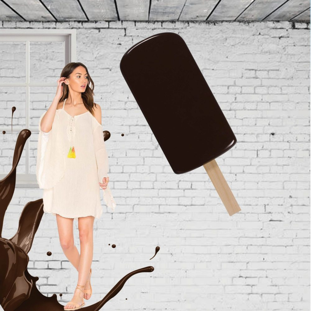 Yummy – chocolate-coated ice cream popsicle – 130cm high – wall décor with brackets