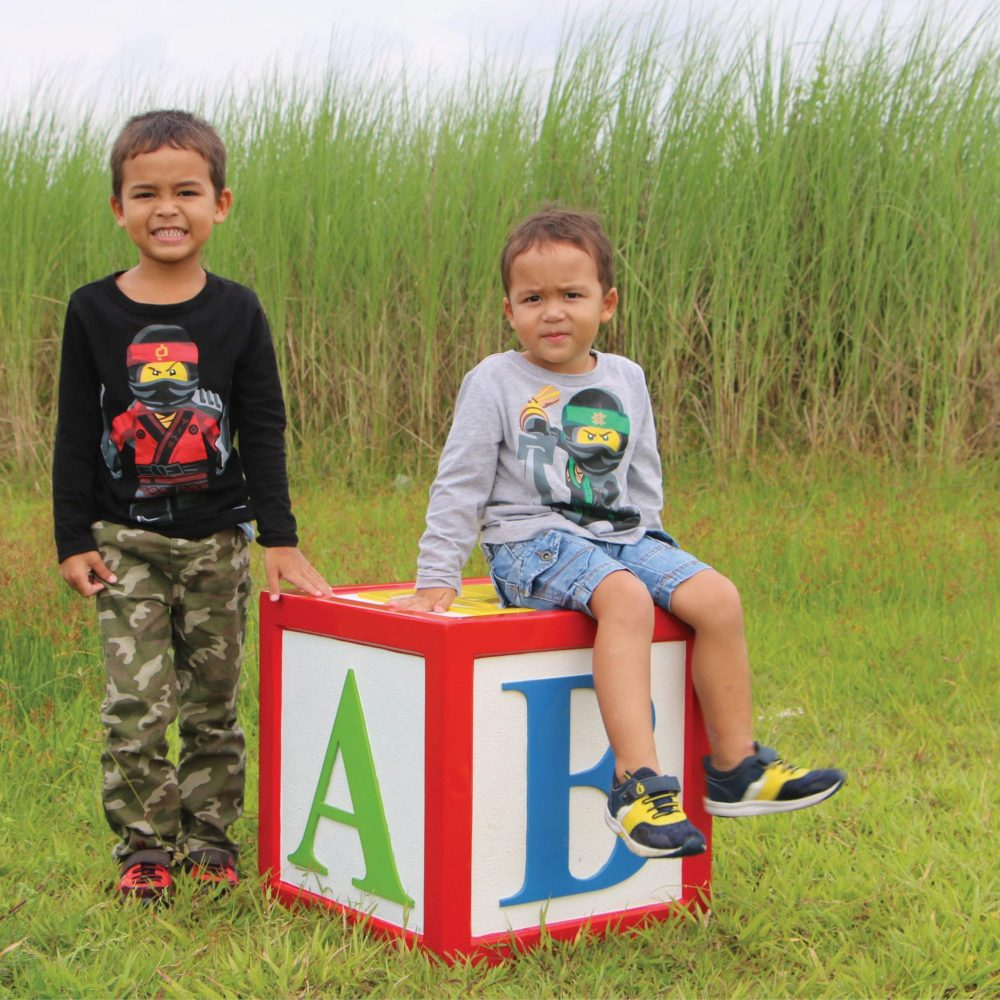 Letter Block - with Alphabet letters- 45 x 45 x 26cm -with bear and boys