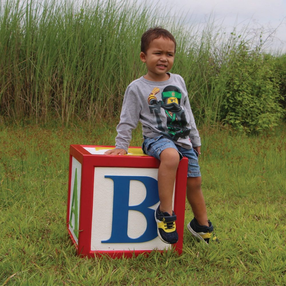 Letter Block - with Alphabet letters- 45 x 45 x 26cm -with boy outside