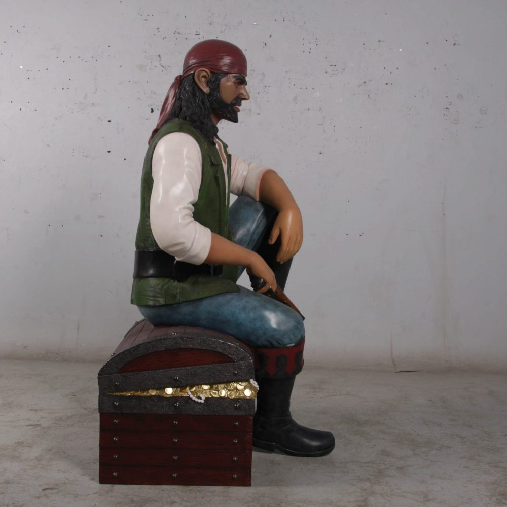 Realistic life-size Pirate sitting on Treasure chest statue