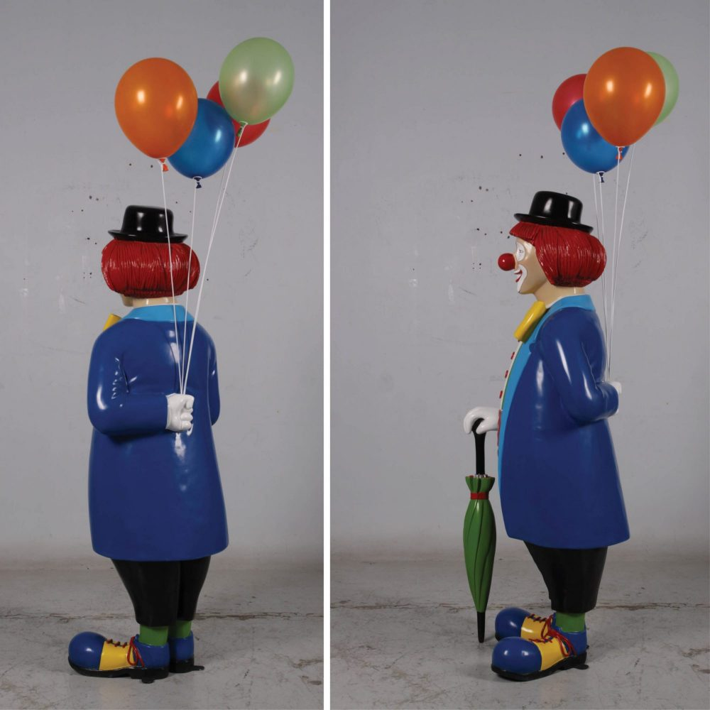 Friendly Clown statue with umbrella and baloons