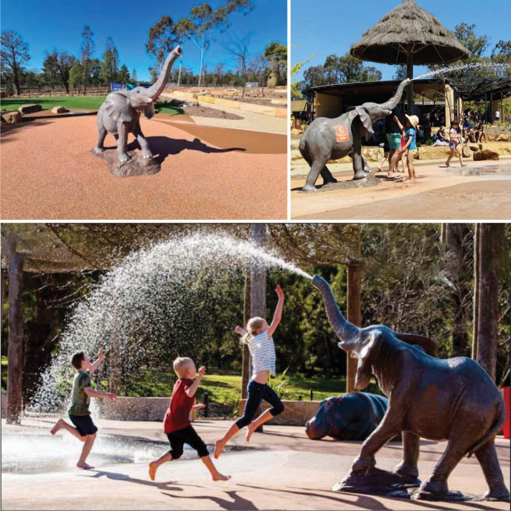 Elephant 1.2m high with water spout themed water playground sculptures