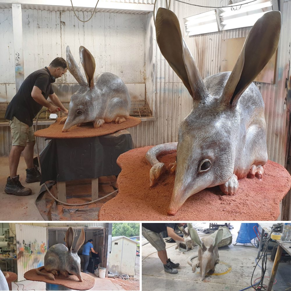 Bilby larger than life-size on base plate_in production
