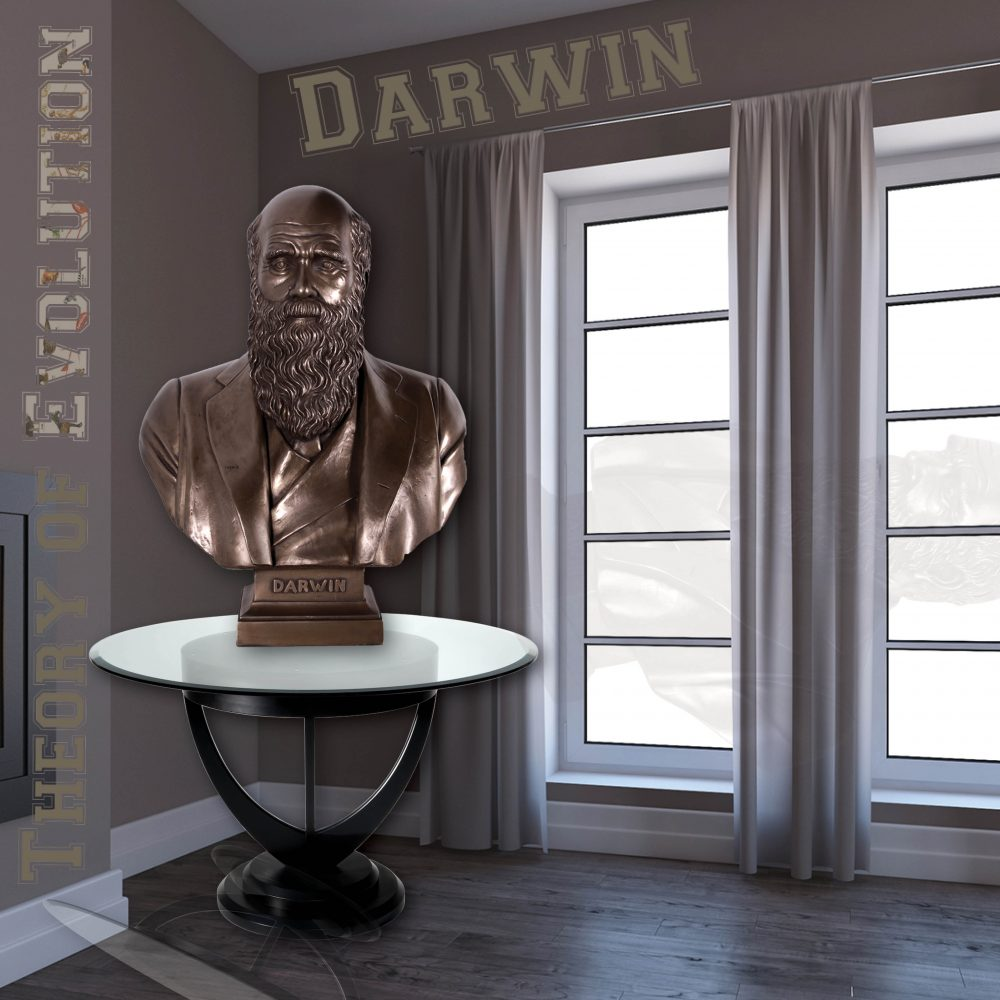 Charles Darwin Bust on base- Bronze finish - on table in house