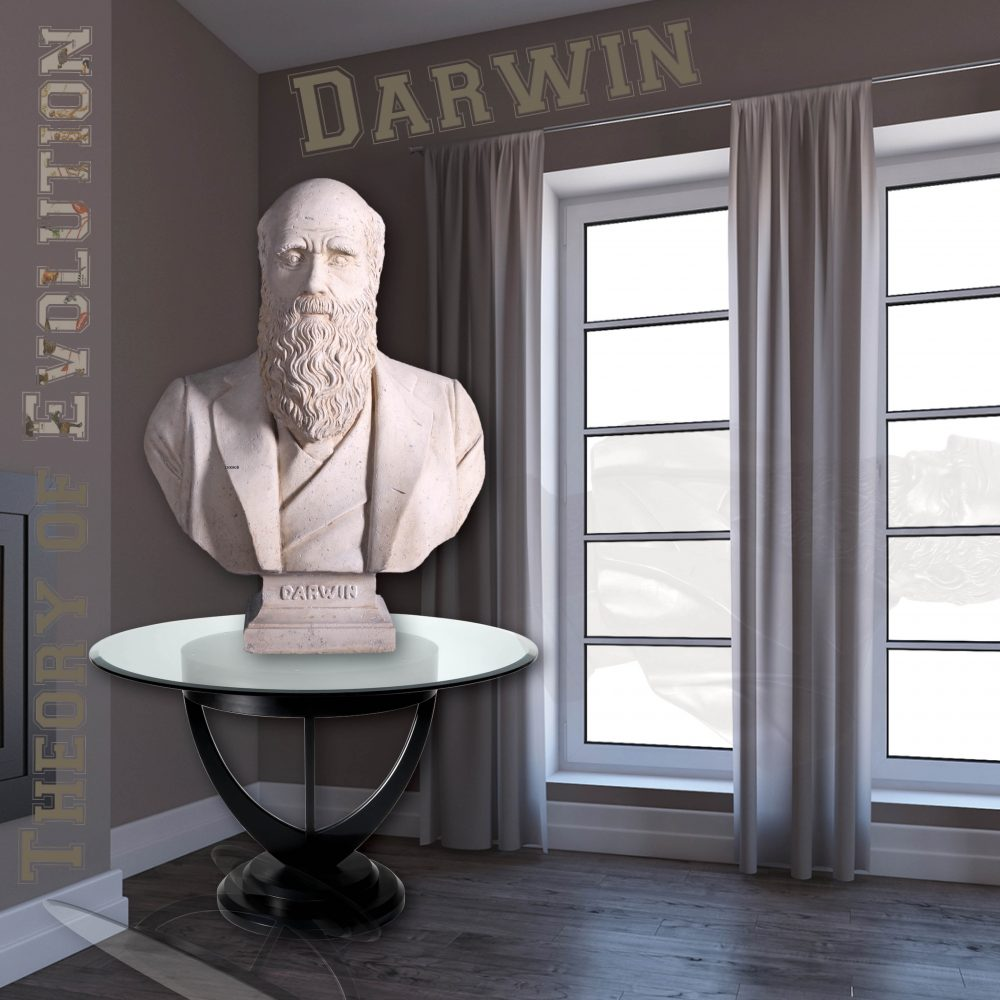 Home Décor Shown on table Charles Darwin Bust – Reproduction with Roman stone finish