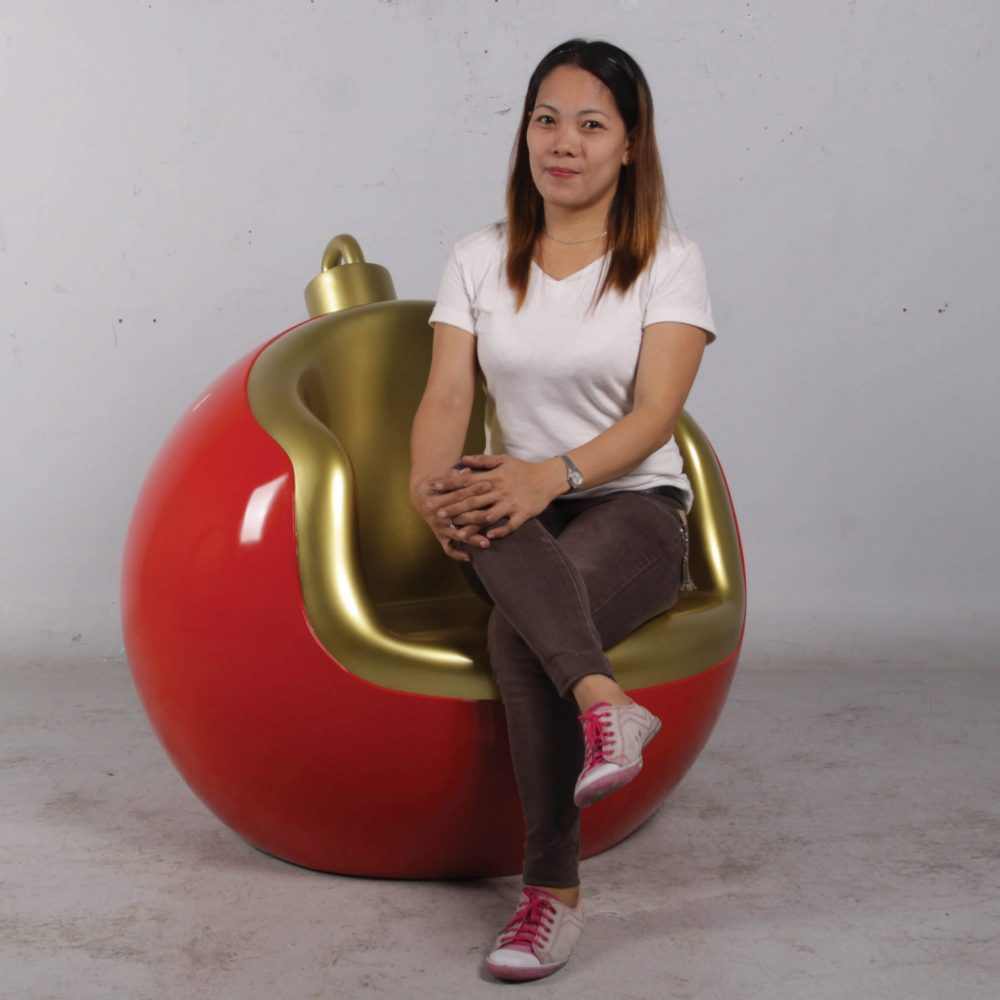 Christmas Ball seat- 95cm _ display prop_shown with lady sitting