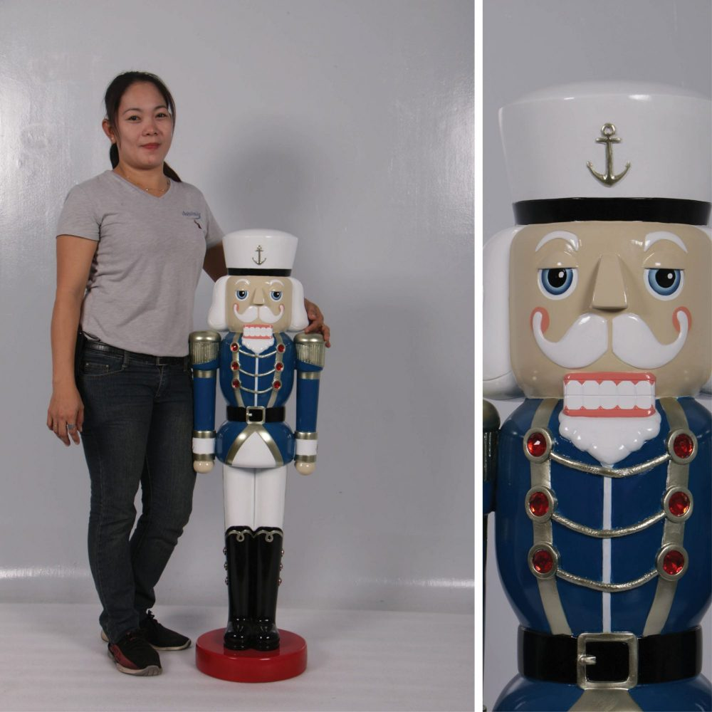Christmas Nutcracker Captain - Blue White and Silver 4ft