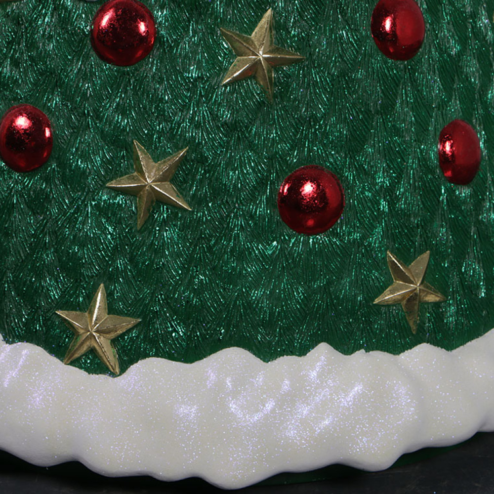 Christmas Tree with baubles - 7ft high_190115_showing base and bauble detail