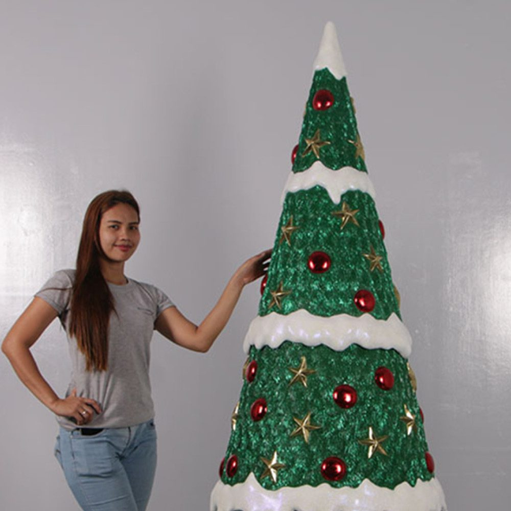 Christmas Tree with baubles - 7ft high_190115_with girl
