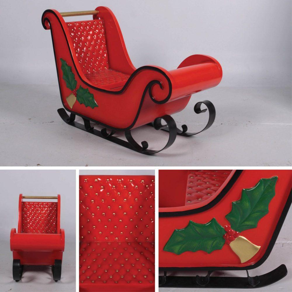 Christmas sleigh with mistletoe -display prop