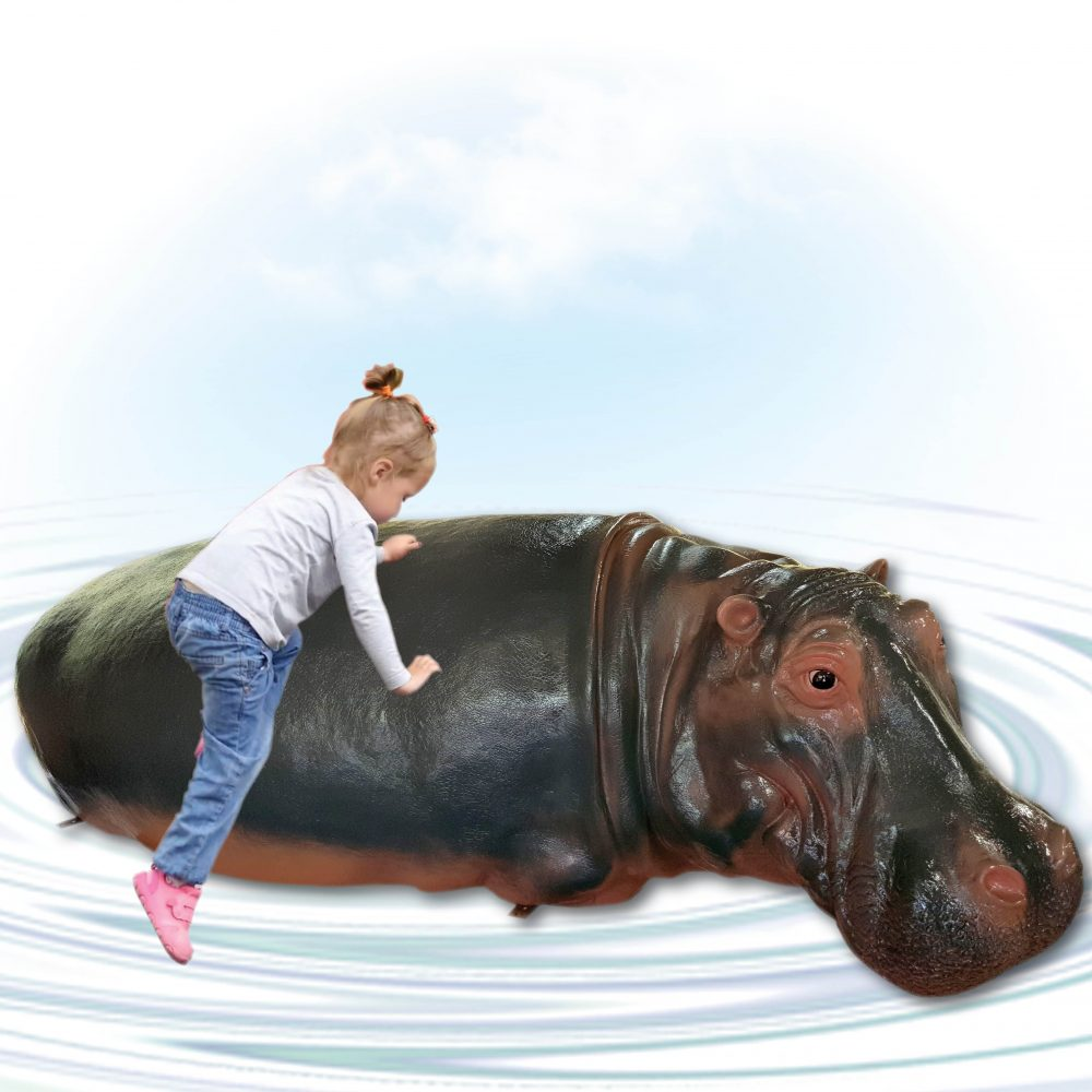 Hippo Adult - 2.7m long- half - with little girl climbing on water play hippo