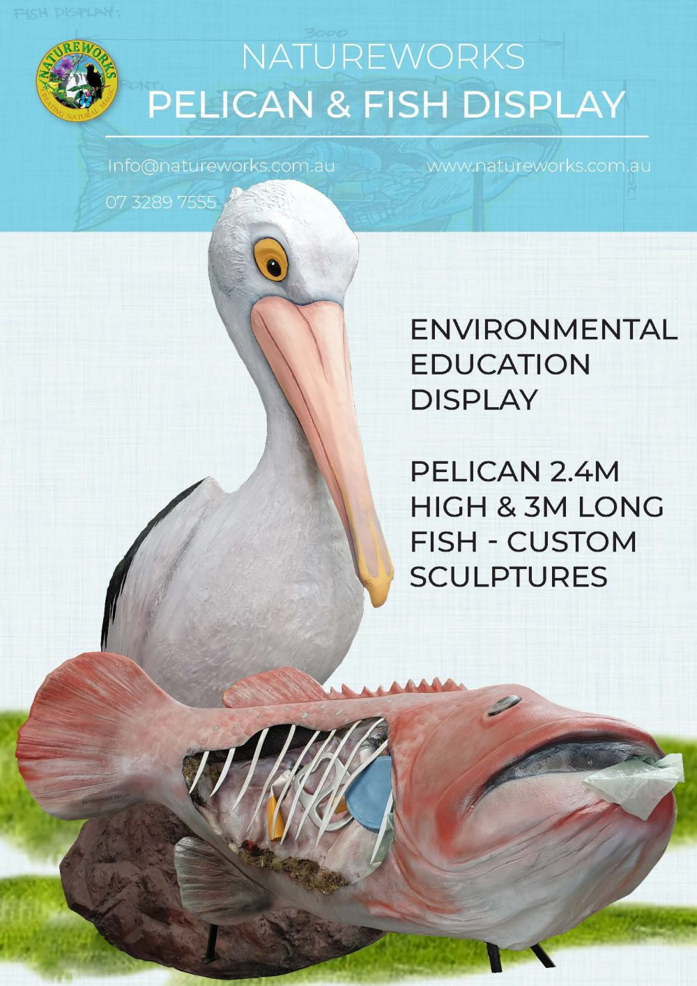 Pelican & fish polluted