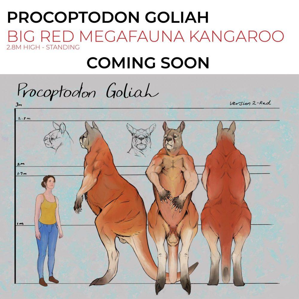 Procoptodon Goliah - Big Red Kangaroo 2.8m high - Australian Megafauna - concept art