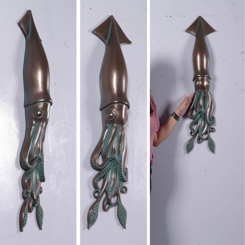 Greenish Bronze Squid Wall Decor