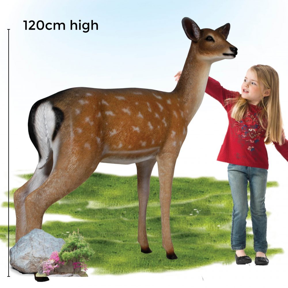 Deer doe – Life-size fallow deer in a standing pose natural with white chest 190015