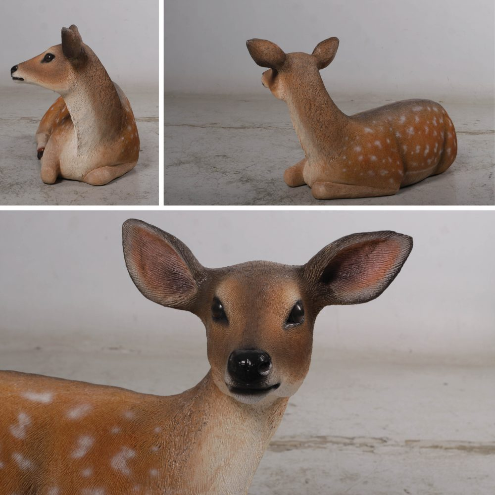 Deer fawn Fallow statue in a lying down pose – 190001 - various angle views