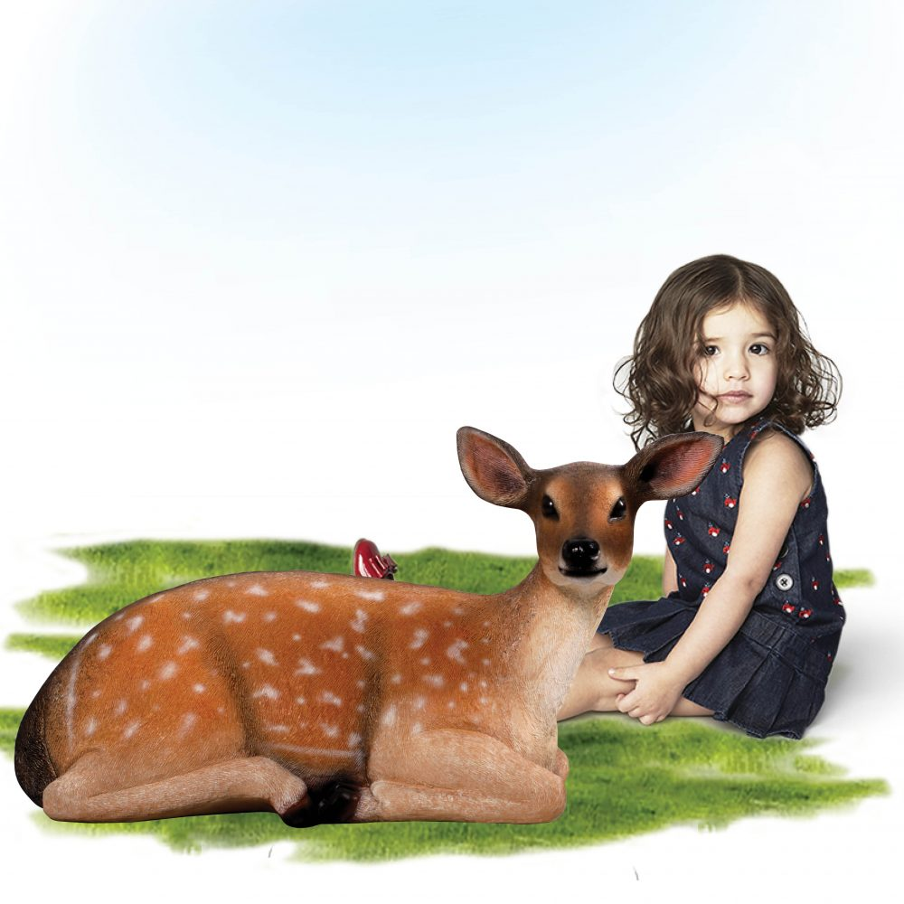 Deer fawn Fallow statue in a lying down pose – 190001