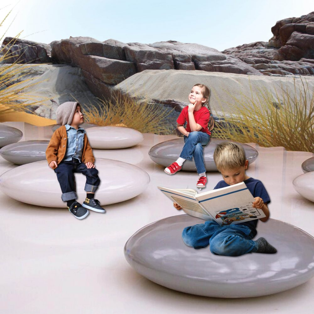 Pebble smartie seats – grey gloss 1m diameter